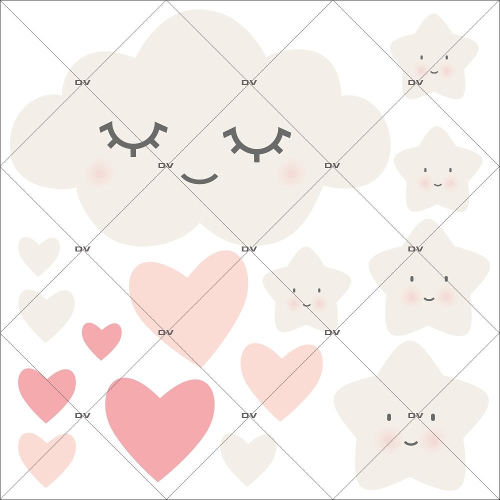 Sticker nuage doux rêves, étoiles et coeurs - Tissu adhésif enlevable