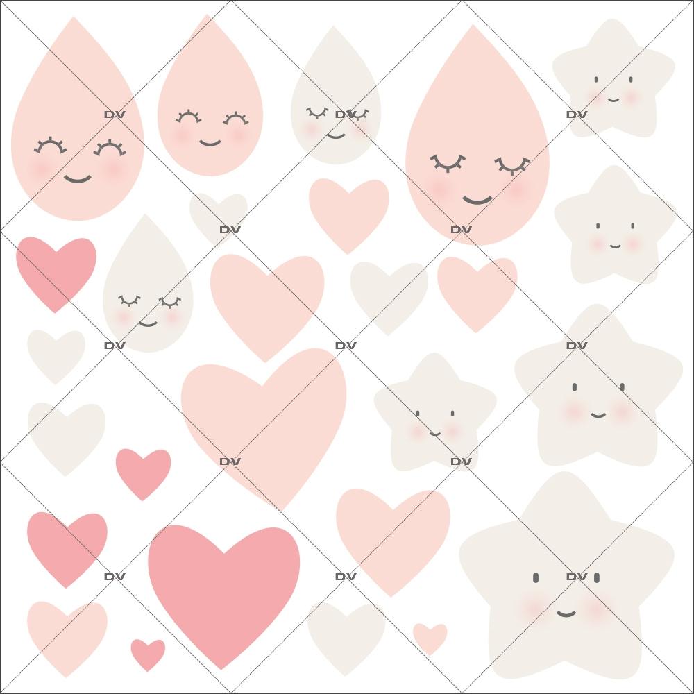 sticker-enfant-coeurs-gouttes-de-pluie-etoiles-rose-chambre-bebe-fille-tissu-adhesif-enlevable-encres-ecologiques-DECO-VITRES