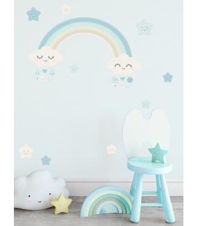 stickers-chambre-bebe-tissu-sans-pvc-encres-ecologiques-enfant-nuages-etoiles-coeurs-arc-en-ciel-garcon-DECO-VITRES