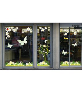 Sticker-arbre-fleuri-marguerites-pâquerettes-trèfles-fleurs-printemps-été-vitrophanie-décoration-vitrine-estivale-printanière-électrostatique-sans-colle-repositionnable-réutilisable-DECO-VITRES