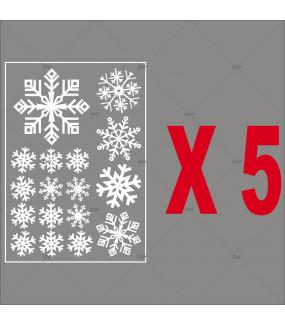 Stickers gros cristaux blancs - Lot de 5 dont 1 offert - vitrophanie noël électrostatique - sans colle - DECO-VITRES - PACK15