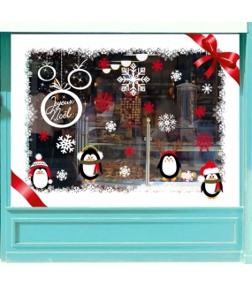vitrine-sticker-electrostatique-vitrophanie-noel-pingouins-cristaux-neige-boules-noeud-ruban-deco-vitres