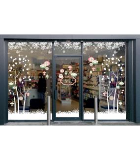 vitrine-stickers-noel-romantique-pastel-rose-vert-arbre-boules-enseigne-texte-joyeux-noel-frises-neige-cristaux-flocons-vitrophanie-electrostatique-repositionnable-reutilisable-sans-colle-DECO-VITRES