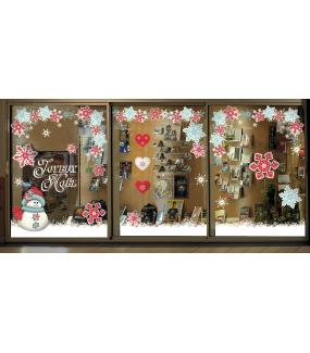 photo-vitrine-stickers-noel-flashy-bonhomme-neige-cristaux-geants-rouges-bleus-blancs-frises-angles-suspension-coeurs-texte-joyeux-noel-vitrophanie-electrostatique-repositionnable-reutilisable-sans-colle-DECO-VITRES