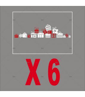 PACK13 - Stickers frise de cadeaux - Lot promotionnel de 6 - DECO-VITRES - PACK13
