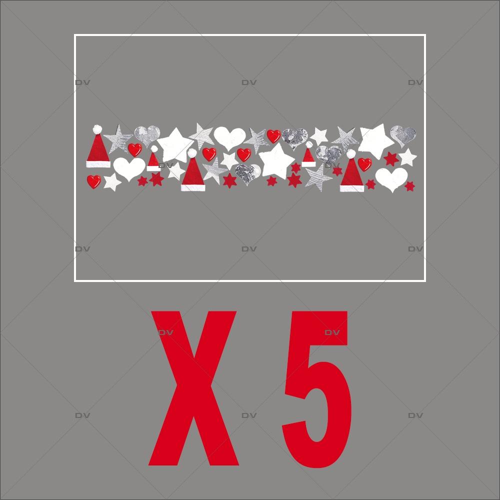 Stickers frise de noël - Lot de 5 dont 1 offert - DECO-VITRES - PACK14
