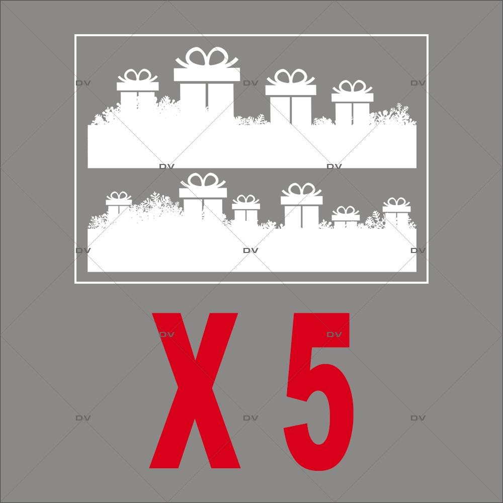 Stickers frise de cadeaux et cristaux - Lot de 5 dont 1 offert - DECO-VITRES - PACK2
