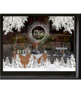 vitrine-decoration-noel-paysage-enneige-stickers-electrostatique-vitrophanie-frises-sapin-neige-branchage-givre-couronne-flocons-cristaux-deco-vitres