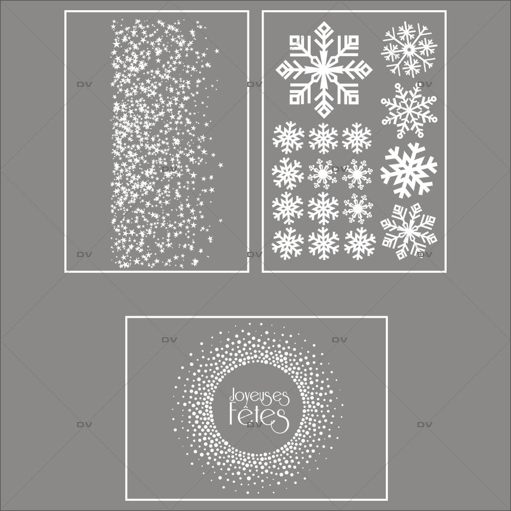 lot-promotionnel-3-stickers-vitrine-noël-étincelant-electrostatique-sans-colle-repositionnable-etoiles-cristaux-flocons-DECO-VITRES-KIT12