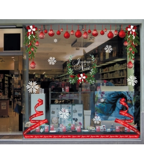 vitrine-decoration-noel-pin-pignes-sticker-electrostatique-vitrophanie-cristaux-neige-noeud-ruban-suspensions-boules-rouges-sapin-ruban-stylise-couronne-houx-deco-vitres