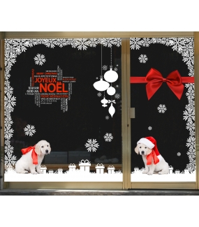 vitrine-decoration-noel-chiots-golden-retriever-cristaux-boules-cadeaux-ruban-noeud-sticker-electrostatique-vitrophanie-deco-vitres