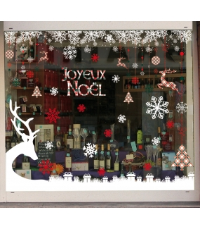vitrine-noel-decoration-ecossais-renne-cadeaux-cristaux-vitrophanies-noel-electrostatique-sans-colle-stickers-DECO-VITRES