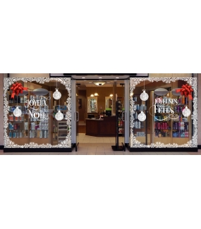 vitrine-decoration-noel-boules-geantes-entourage-cristaux-noeuds-cadeaux-bolduc-thème-chic-sticker-electrostatique-vitrophanie-deco-vitres