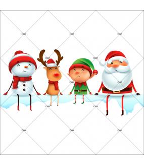 sticker-etagere-personnages-noel-bonhomme-de-neige-renne-lutin-pere-noel-vitrine-noel-electrostatique-vitrophanie-sans-colle-DECO-VITRES-LUD1