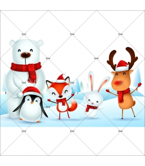 sticker-animaux-noel-pingouin-ours-polaire-renard-oiseau-lapin-paysage-de-neige-vitrine-noel-electrostatique-vitrophanie-sans-colle-DECO-VITRES-LUD4