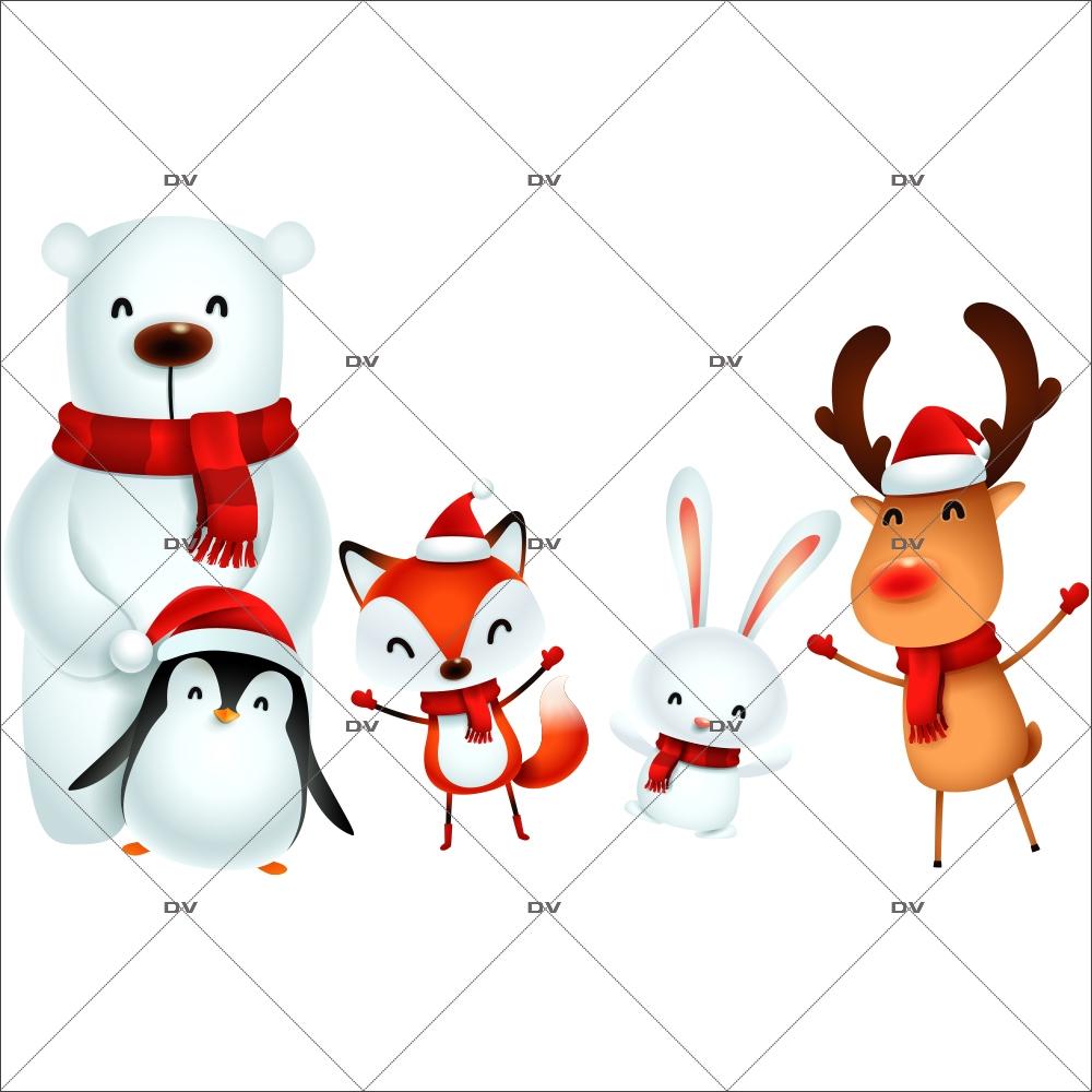 sticker-animaux-noel-pingouin-ours-polaire-renard-oiseau-lapin-vitrine-noel-electrostatique-vitrophanie-sans-colle-DECO-VITRES-LUD9