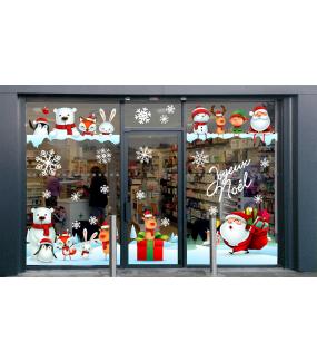vitrine-noël-ludique-animaux-pere-noel-paysage-neige-electrostatique-vitrophanie-cristaux-neige-stickers-deco-vitres