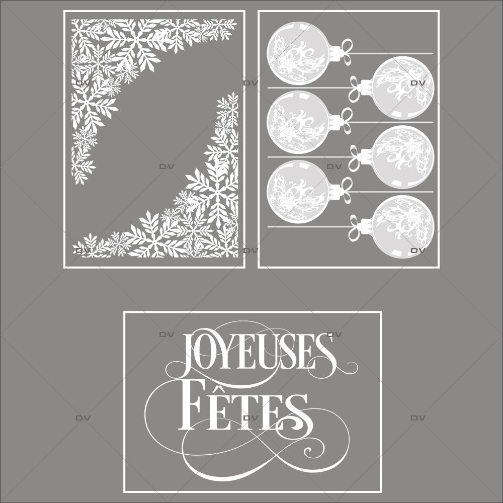 lot-promotionnel-3-stickers-vitrine-noel-chic-puppies-cristaux-boules-texte-joyeuses-fetes-electrostatique-sans-colle-repositionnable-DECO-VITRES-KIT16
