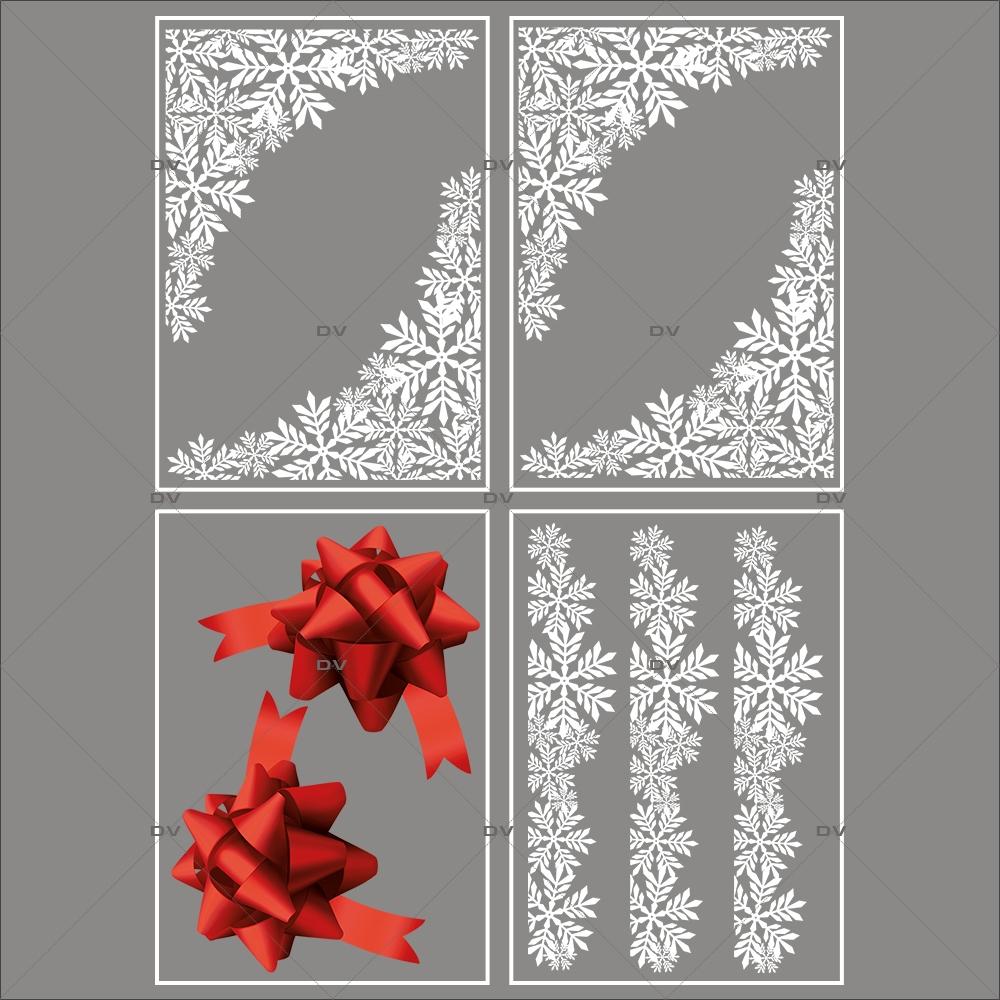 Lot-promotionnel-4-stickers-vitrine-noel-chic-puppies-cristaux-frises-et-angles-noeuds-cadeaux-bolduc-rouge-noel-electrostatique-sans-colle-repositionnable-DECO-VITRES-KIT301