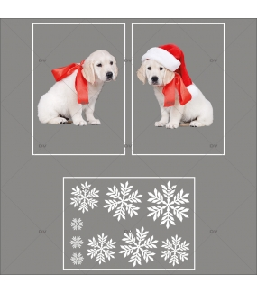 lot-promotionnel-3-stickers-vitrine-noel-puppies-electrostatique-sans-colle-repositionnable-chiots-cristaux-flocons-DECO-VITRES-KIT101