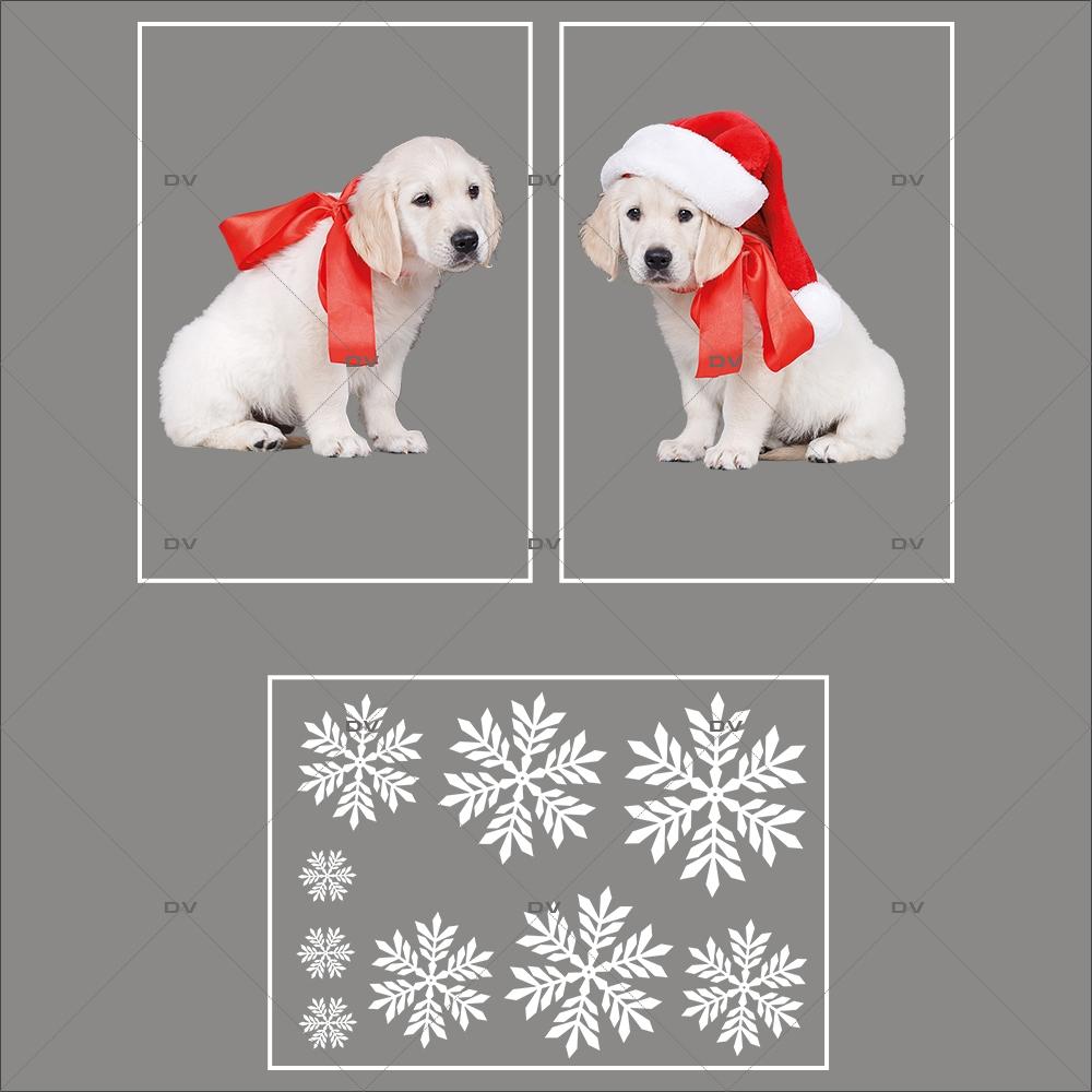 lot-promotionnel-3-stickers-vitrine-noel-puppies-electrostatique-sans-colle-repositionnable-chiots-cristaux-flocons-DECO-VITRES-KIT101