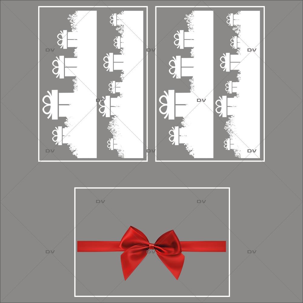 lot-promotionnel-3-stickers-vitrine-noel-puppies-electrostatique-sans-colle-repositionnable-frises-cadeaux-et-cristaux-ruban-noeud-cadeau-rouge-DECO-VITRES-KIT102
