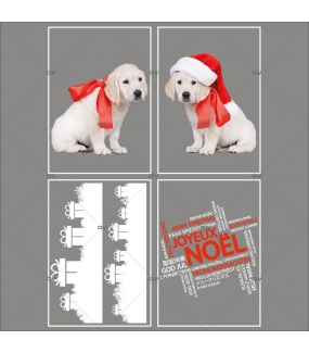 lot-promotionnel-4-stickers-vitrine-noel-puppies-electrostatique-sans-colle-repositionnable-chiots-frises-cadeaux-cristaux-texte-joyeux-noël-multilingue-DECO-VITRES-KIT302