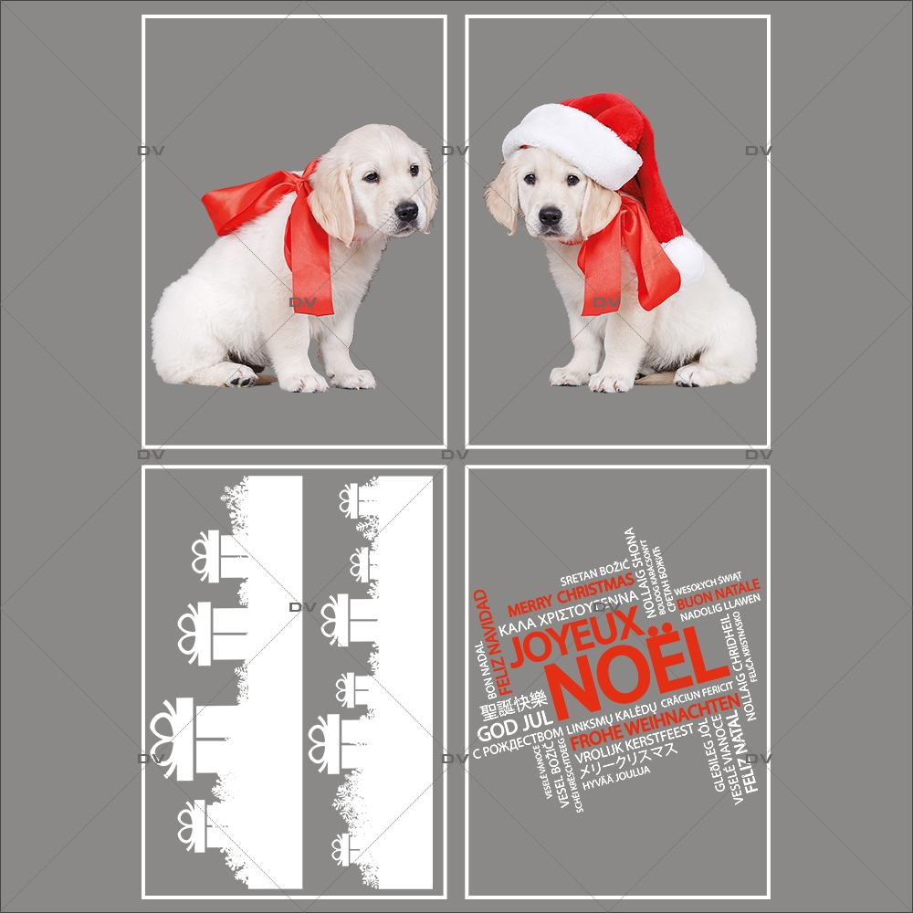 lot-promotionnel-4-stickers-vitrine-noel-puppies-electrostatique-sans-colle-repositionnable-chiots-frises-cadeaux-cristaux-texte-joyeux-noël-multilingue-DECO-VITRES-KIT302