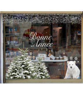 vitrine-decoration-noel-nature-ourson-sapins-enneiges-stickers-electrostatique-vitrophanie-frises-sapin-neige-branchage-givre-couronne-flocons-cristaux-deco-vitres