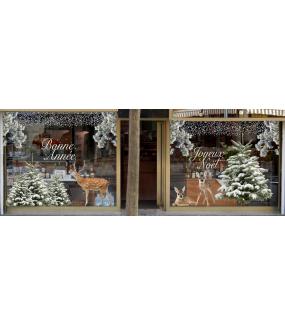 vitrine-decoration-noel-sapins-enneiges-nature-cerf-faons-stickers-electrostatique-vitrophanie-frises-flocons-neige-branchage-pin-givre-deco-vitres