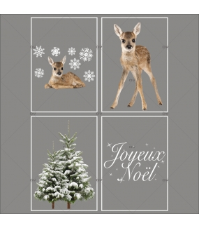 lot-promotionnel-4-stickers-vitrine-noel-nature-sapins-enneiges-hiver-texte-joyeux-noel-faons-electrostatique-sans-colle-repositionnable-DECO-VITRES-KIT304