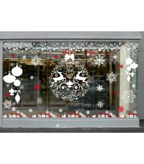 vitrine-stickers-noel-boule-geante-frises-etoiles-blanc-pur-texte-joyeux-noel-cristaux-neige-cadeaux-rouges-blancs-volutes-rennes-noeud-cadeau-vitrophanie-electrostatique-repositionnable-reutilisable-sans-colle-iconique-DECO-VITRES