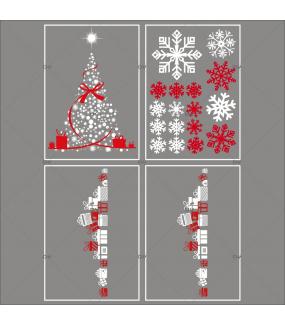 lot-promotionnel-4-stickers-vitrine-noel-rouge-blanc-sapin-cristaux-frises-cadeaux-electrostatique-sans-colle-repositionnable-DECO-VITRES-KIT9
