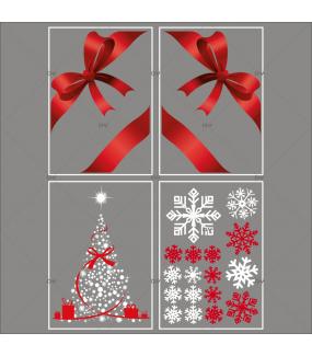 lot-promotionnel-4-stickers-vitrine-noel-rouge-blanc-sapin-cristaux-noeuds-rouges-ruban-cadeau-electrostatique-sans-colle-repositionnable-DECO-VITRES-KIT11