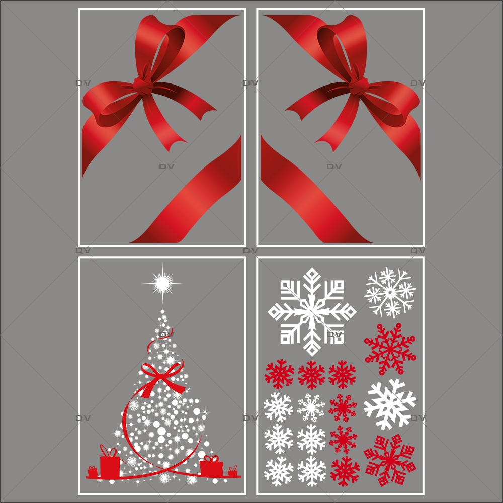 lot-promotionnel-4-stickers-vitrine-noel-rouge-blanc-sapin-cristaux-noeuds-rouges-ruban-cadeau-electrostatique-sans-colle-repositionnable-DECO-VITRES-KIT11