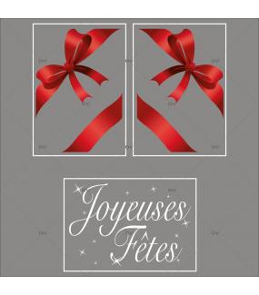 lot-promotionnel-3-stickers-vitrine-noel-rouge-blanc-noeuds-rouges-ruban-cadeau-texte-joyeuses-fetes-electrostatique-sans-colle-repositionnable-DECO-VITRES-KIT10