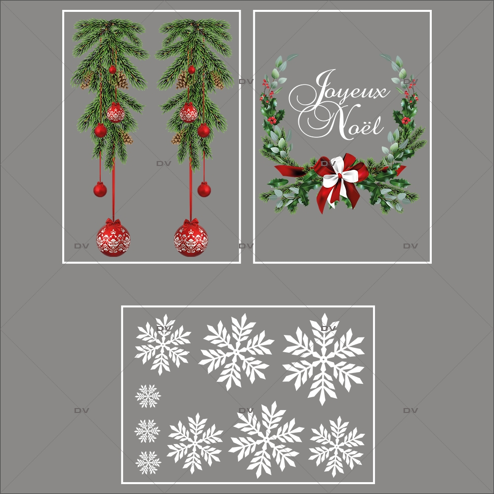 lot-promotionnel-3-stickers-vitrine-noel-intemporel-suspensions-boules-rouges-pin-couronne-texte-joyeux-noel-electrostatique-sans-colle-repositionnable-DECO-VITRES-KIT3