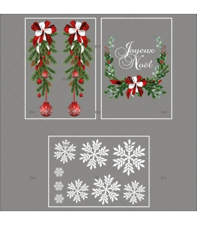 lot-promotionnel-3-stickers-vitrine-noel-intemporel-suspensions-boules-rouges-pin-couronne-texte-joyeux-noel-electrostatique-sans-colle-repositionnable-DECO-VITRES-KIT308