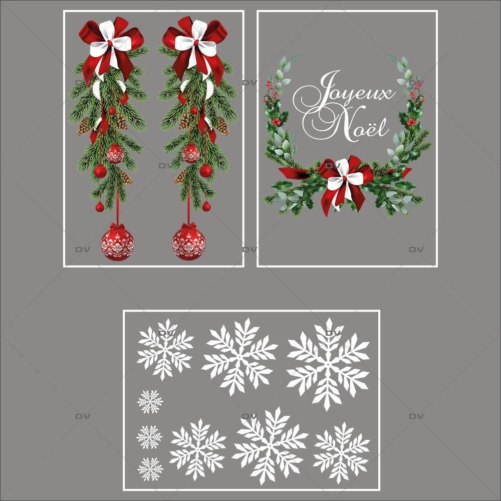 lot-promotionnel-3-stickers-vitrine-noel-intemporel-suspensions-boules-rouges-pin-couronne-texte-joyeux-noel-electrostatique-sans-colle-repositionnable-DECO-VITRES-KIT308