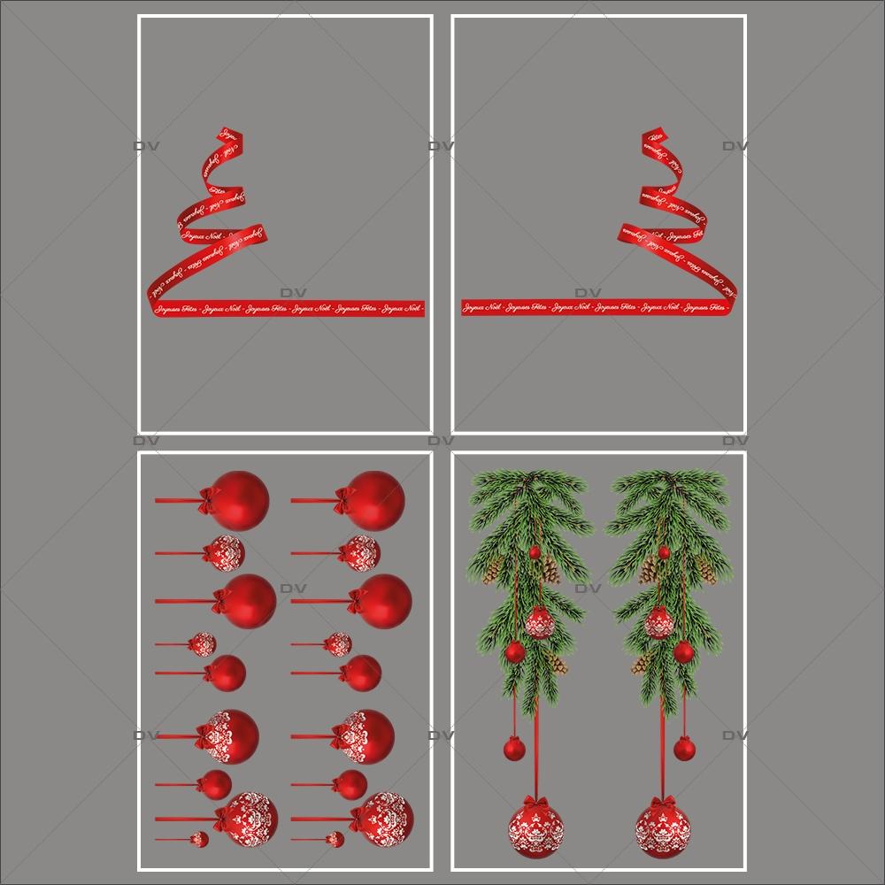 lot-promotionnel-4-stickers-vitrine-noel-intemporel-frises-boules-rouges-suspensions-sapin-stylise-ruban-texte-joyeux-noël-joyeuses-fetes-electrostatique-sans-colle-repositionnable-DECO-VITRES-KIT4