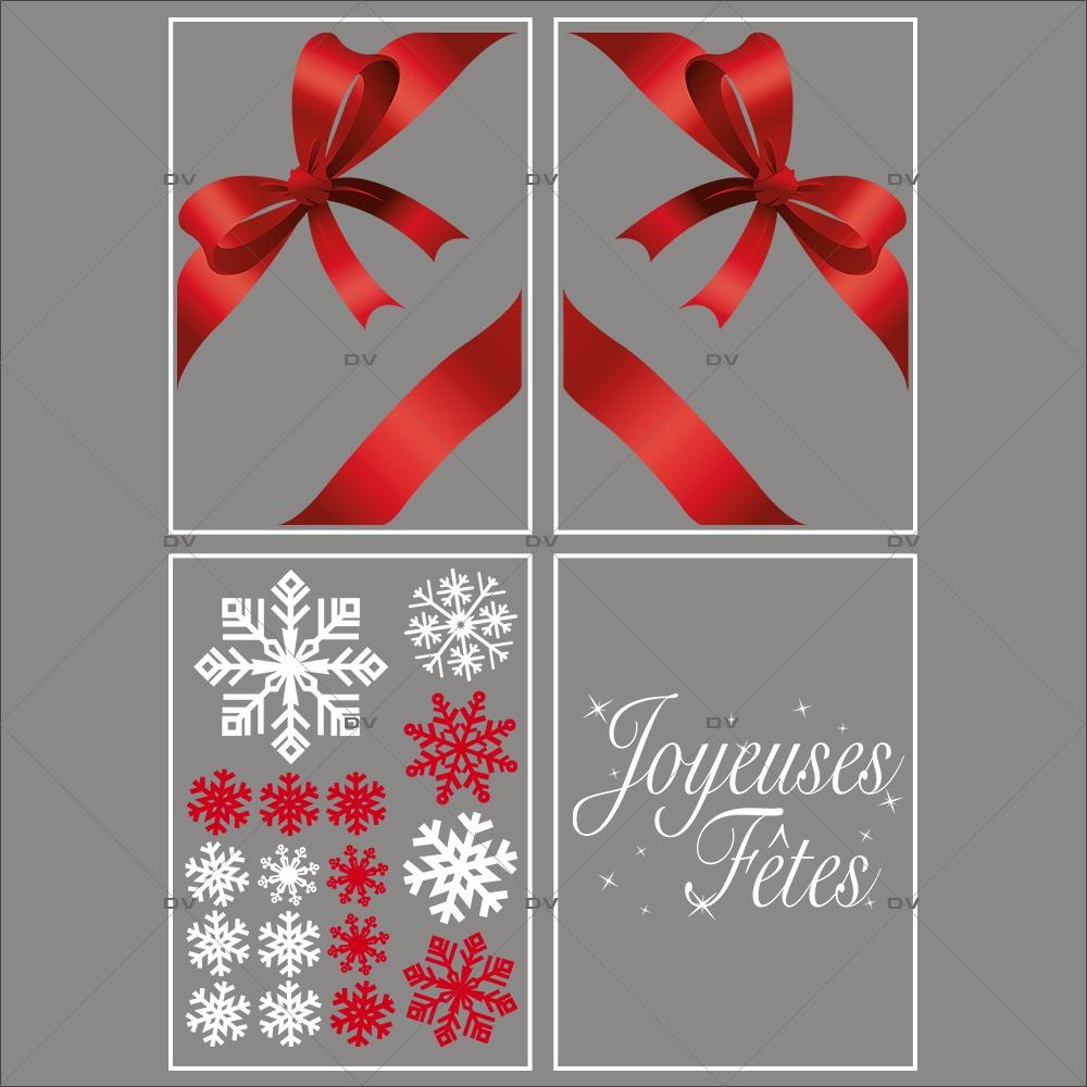 lot-promotionnel-4-stickers-vitrine-noel-rouge-blanc-sapin-cristaux-noeuds-rouges-ruban-cadeau-joyeuses-fetes-electrostatique-sans-colle-repositionnable-DECO-VITRES-KIT136