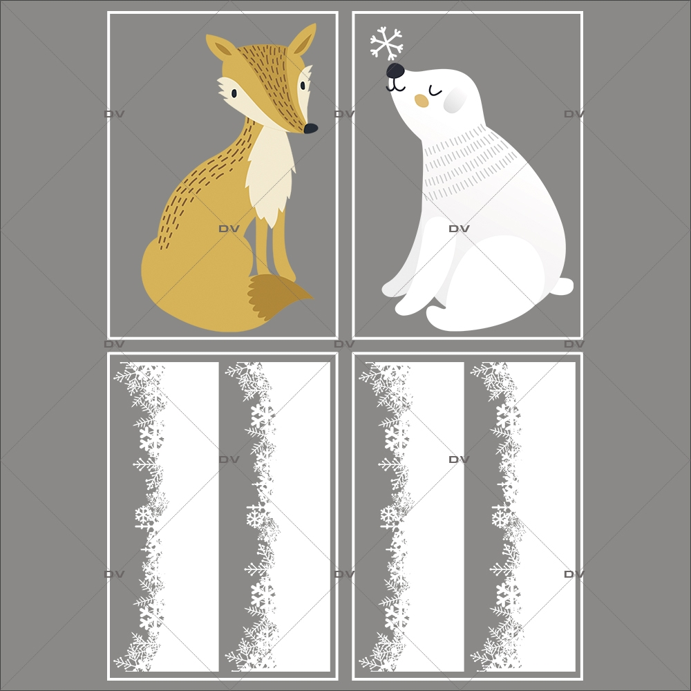 lot-promotionnel-4-stickers-vitrine-noel-espiegle-frise-neige-et-cristaux-renard-ours-polaire-electrostatique-sans-colle-repositionnable-DECO-VITRES-KIT310