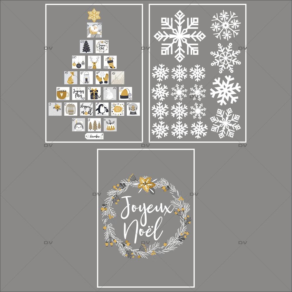 lot-promotionnel-3-stickers-vitrine-noel-espiegle-cristaux-sapin-calendrier-avent-couronne-joyeux-noel-electrostatique-sans-colle-repositionnable-DECO-VITRES-KIT105