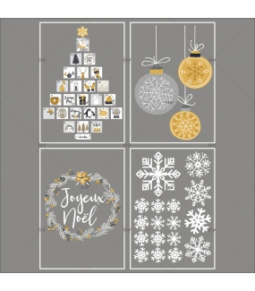 lot-promotionnel-4-stickers-vitrine-noel-espiegle-cristaux-sapin-calendrier-avent-couronne-joyeux-noel-suspensions-boules-electrostatique-sans-colle-repositionnable-DECO-VITRES-KIT106