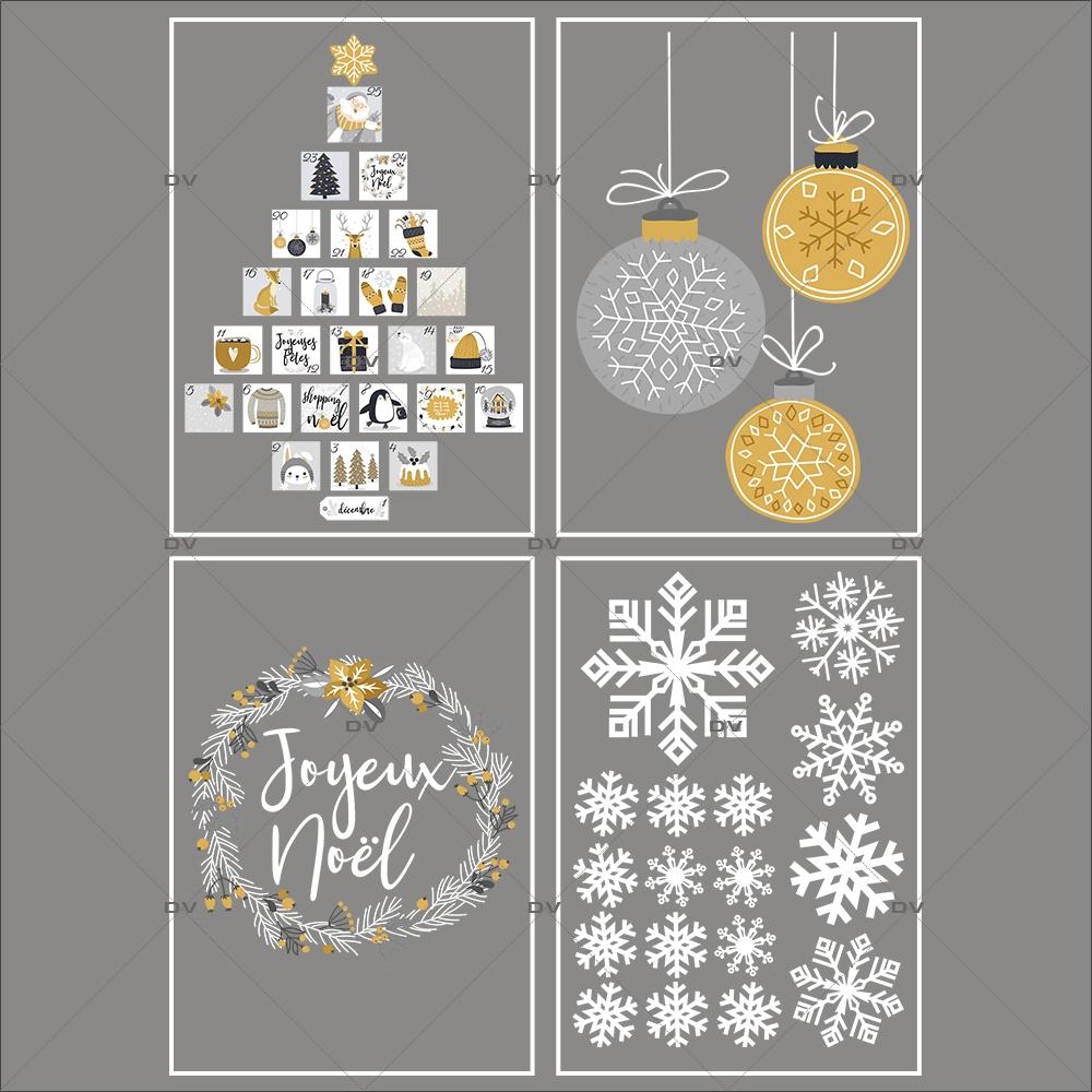 lot-promotionnel-4-stickers-vitrine-noel-espiegle-cristaux-sapin-calendrier-avent-couronne-joyeux-noel-suspensions-boules-electrostatique-sans-colle-repositionnable-DECO-VITRES-KIT106