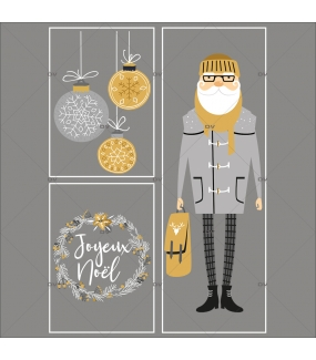 lot-promotionnel-3-stickers-vitrine-noel-espiegle-pere-noel-hipster-geant-couronne-joyeux-noel-suspensions-boules-electrostatique-sans-colle-repositionnable-DECO-VITRES-KIT311