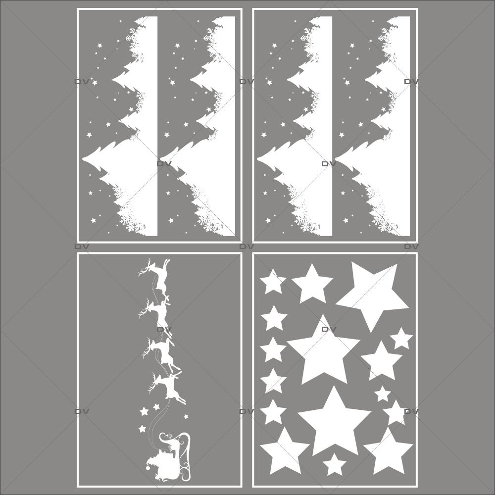 Lot-promotionnel-4-stickers-vitrine-noel-etoile-traineau-rennes-du-pere-noel-frises-neige-sapins-etoiles-electrostatique-sans-colle-repositionnable-DECO-VITRES-KIT81