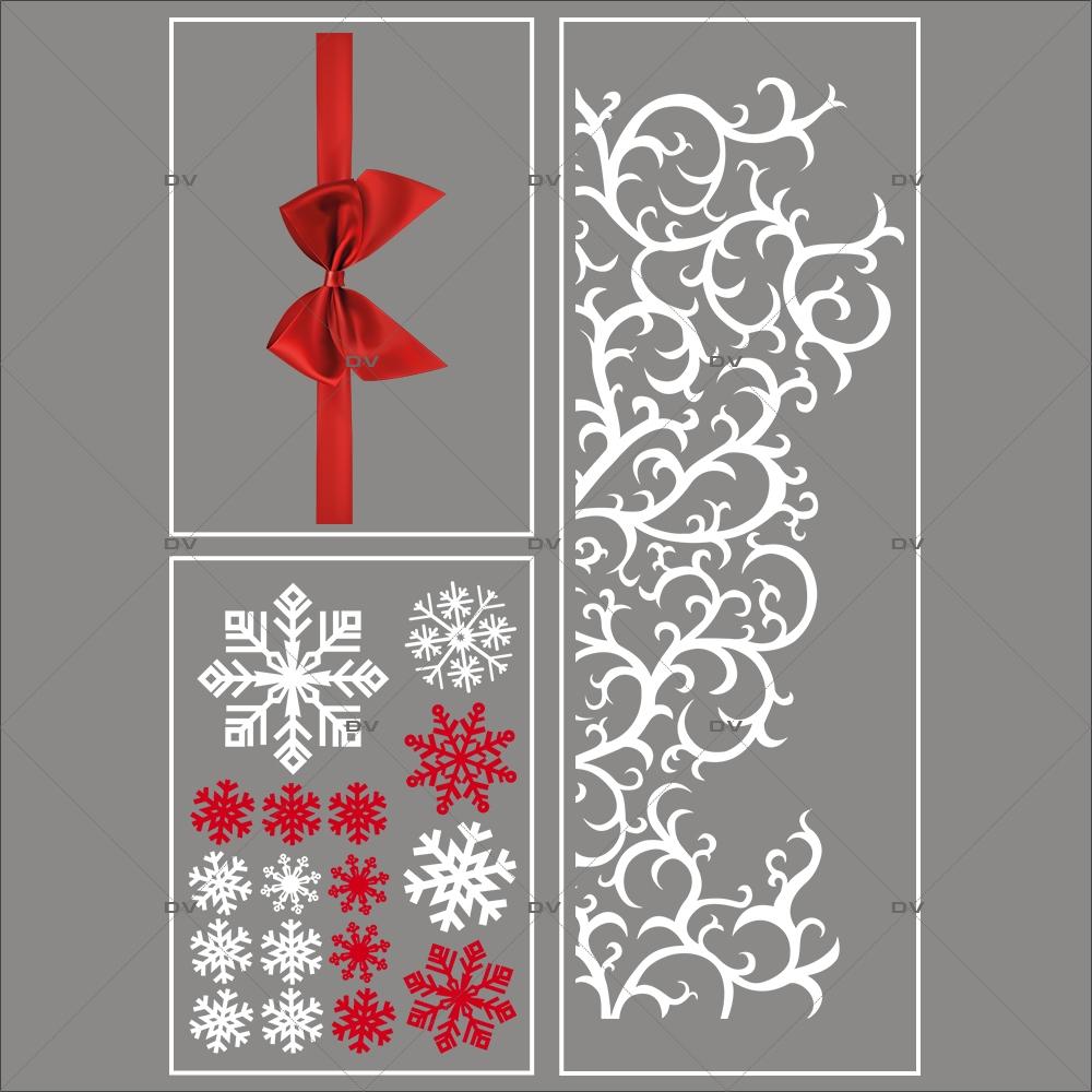lot-promotionnel-3-stickers-vitrine-noel-volutes-givrees-noeud cadeau-rouge-cristaux-volute-givree-geante-electrostatique-sans-colle-repositionnable-DECO-VITRES-KIT91