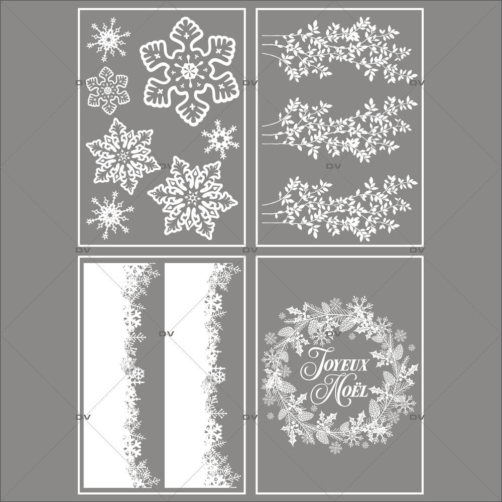 lot-promotionnel-4-stickers-vitrine-noel-sylvestre-cristaux-geants-frises-neige-et-feuilles-givrees-couronne-joyeux-noel-electrostatique-sans-colle-repositionnable-DECO-VITRES-KIT130