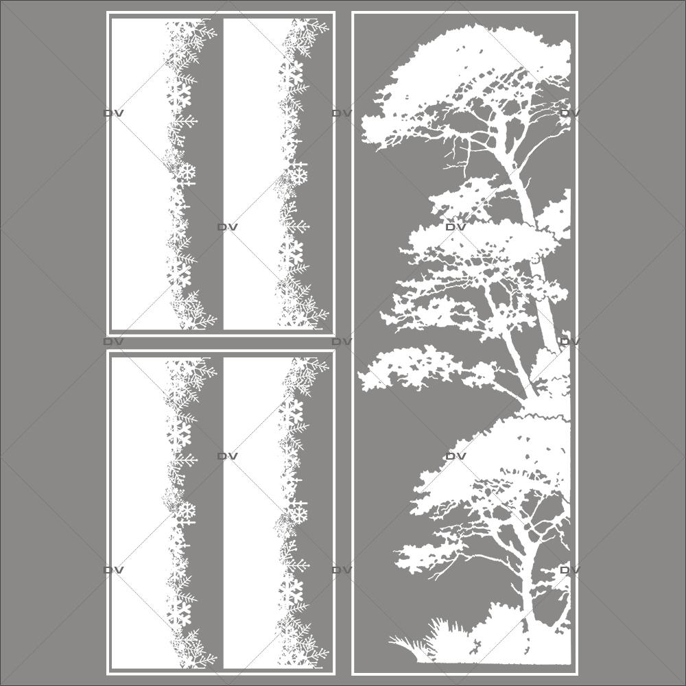 lot-promotionnel-3-stickers-vitrine-noel-sylvestre-frises-de-cristaux-et-pin-parasol-givre-electrostatique-sans-colle-repositionnable-DECO-VITRES-KIT131